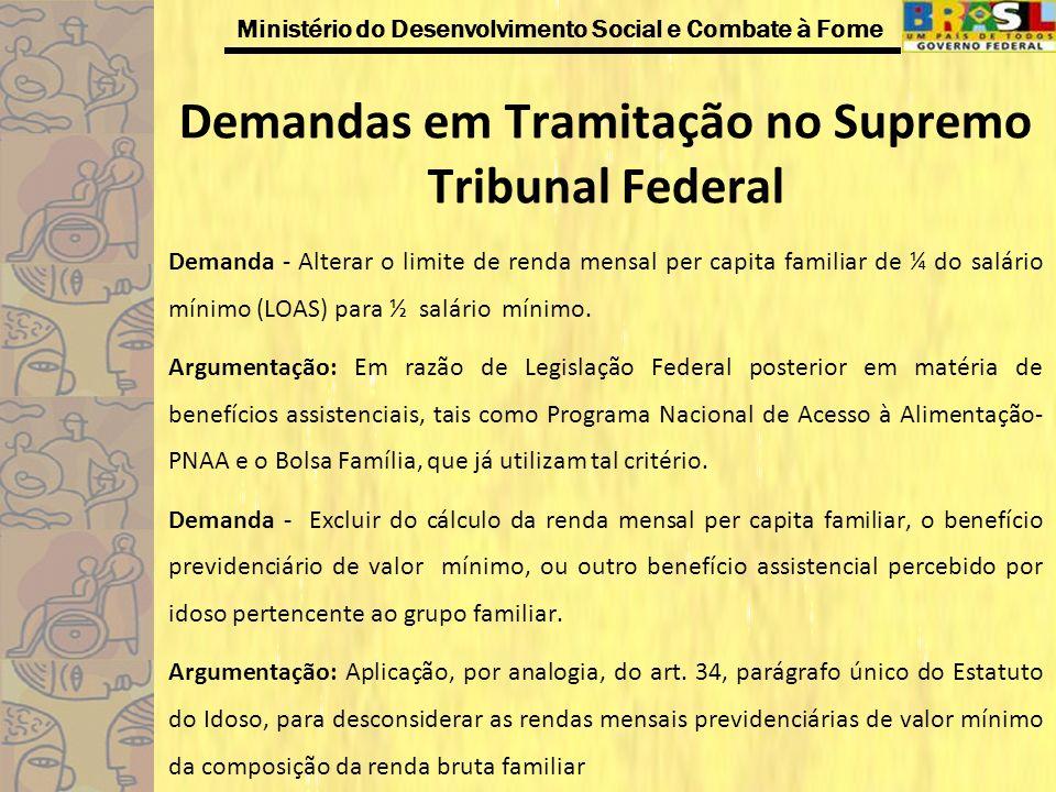 Ministério do Desenvolvimento Social e Combate à Fome Demandas em Tramitação no Supremo Tribunal Federal Demanda - Alterar o limite de renda mensal pe