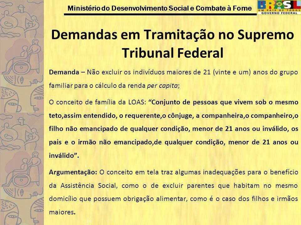 Ministério do Desenvolvimento Social e Combate à Fome Demandas em Tramitação no Supremo Tribunal Federal Demanda – Não excluir os indivíduos maiores d