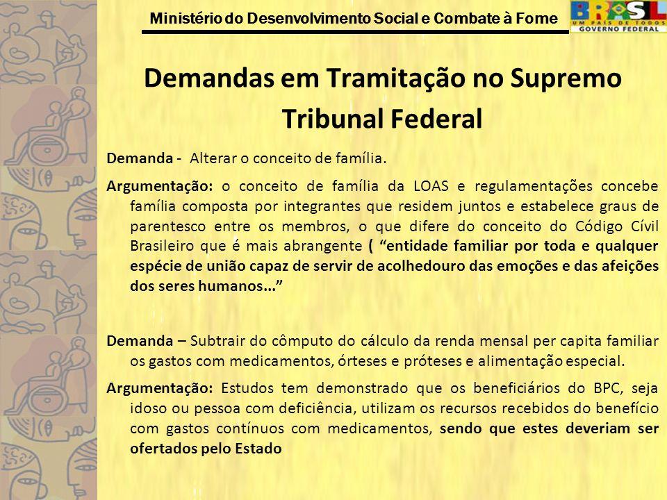 Ministério do Desenvolvimento Social e Combate à Fome Demandas em Tramitação no Supremo Tribunal Federal Demanda - Alterar o conceito de família. Argu