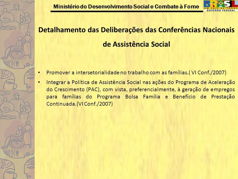 Ministério do Desenvolvimento Social e Combate à Fome Detalhamento das Deliberações das Conferências Nacionais de Assistência Social Promover a inters