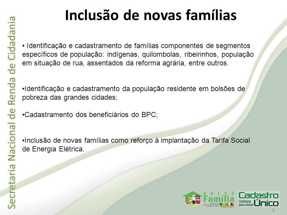 Inclusão de novas famílias Identificação e cadastramento de famílias componentes de segmentos específicos de população: indígenas, quilombolas, ribeir