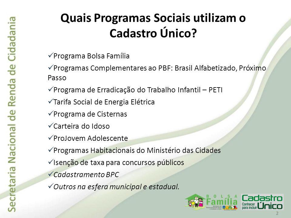 Evolução do Cadastro Único 2002: 5,5 milhões famílias cadastradas em 5.190 municípios brasileiros.