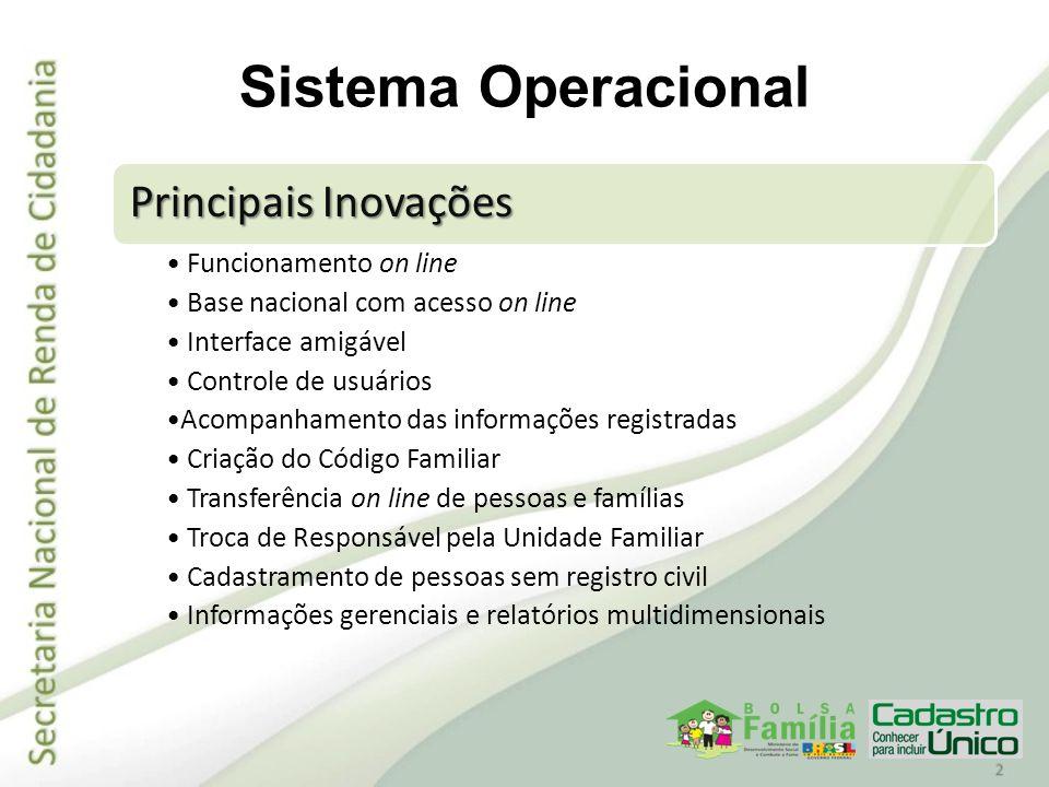 Em 2010 o novo sistema foi disponibilizado aos municípios em duas etapas: Módulo de consulta – permite a consulta às famílias na base de dados nacional; Módulo de manutenção – permite a inclusão, alteração ou exclusão de pessoas e famílias na base nacional de dados do Cadastro Único.