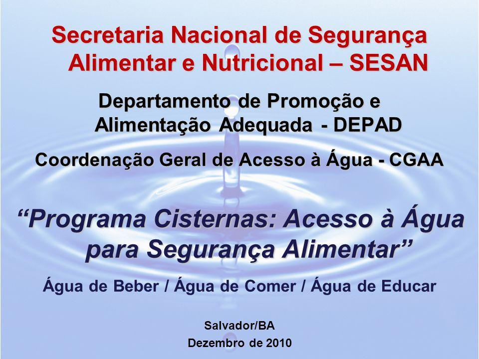 Secretaria Nacional de Segurança Alimentar e Nutricional – SESAN Departamento de Promoção e Alimentação Adequada - DEPAD Coordenação Geral de Acesso à Água - CGAA Programa Cisternas: Acesso à Água para Segurança Alimentar Água de Beber / Água de Comer / Água de Educar Salvador/BA Dezembro de 2010