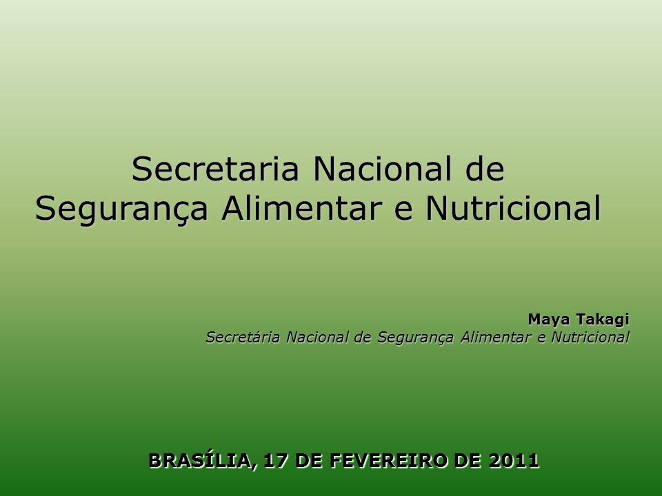 Objetivo Promover a inclusão social no campo por meio do fortalecimento da agricultura familiar e garantir o acesso aos alimentos em quantidade, qualidade e regularidade necessárias às populações em situação de insegurança alimentar e nutricional Programa de Aquisição de Alimentos (PAA) Recurso para 2011: R$ 640,2 milhões