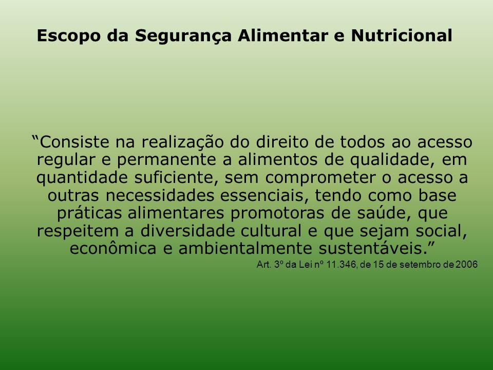 Consiste na realização do direito de todos ao acesso regular e permanente a alimentos de qualidade, em quantidade suficiente, sem comprometer o acesso