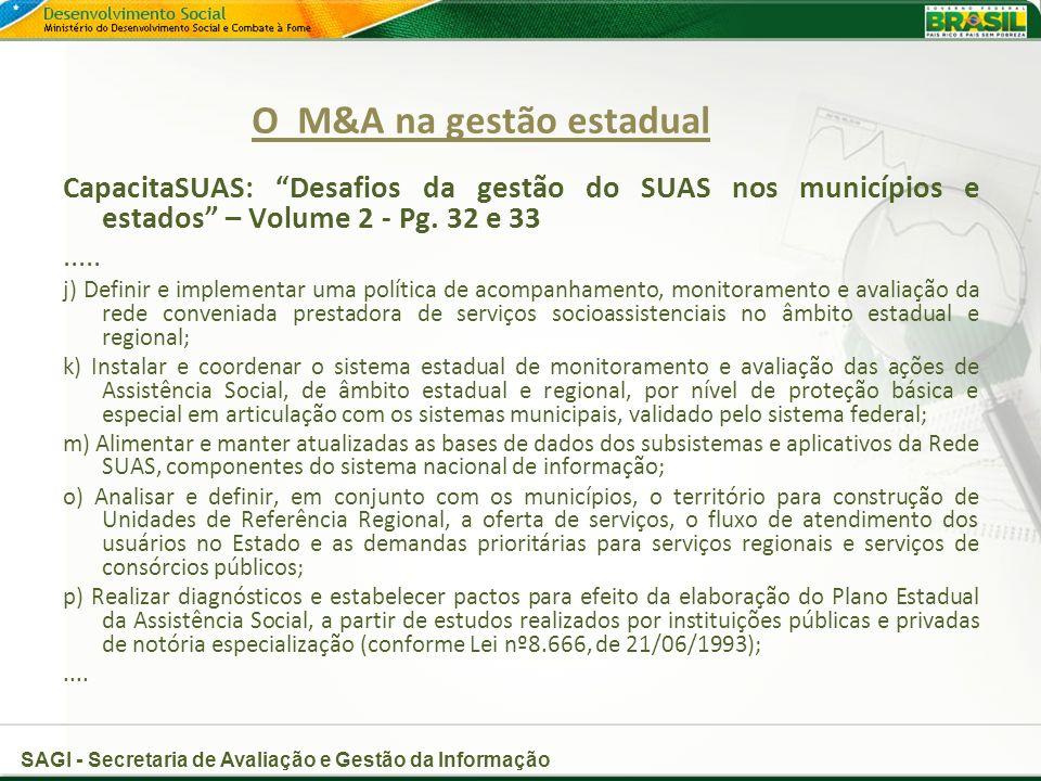 SAGI - Secretaria de Avaliação e Gestão da Informação O M&A na gestão estadual CapacitaSUAS: Desafios da gestão do SUAS nos municípios e estados – Volume 2 - Pg.