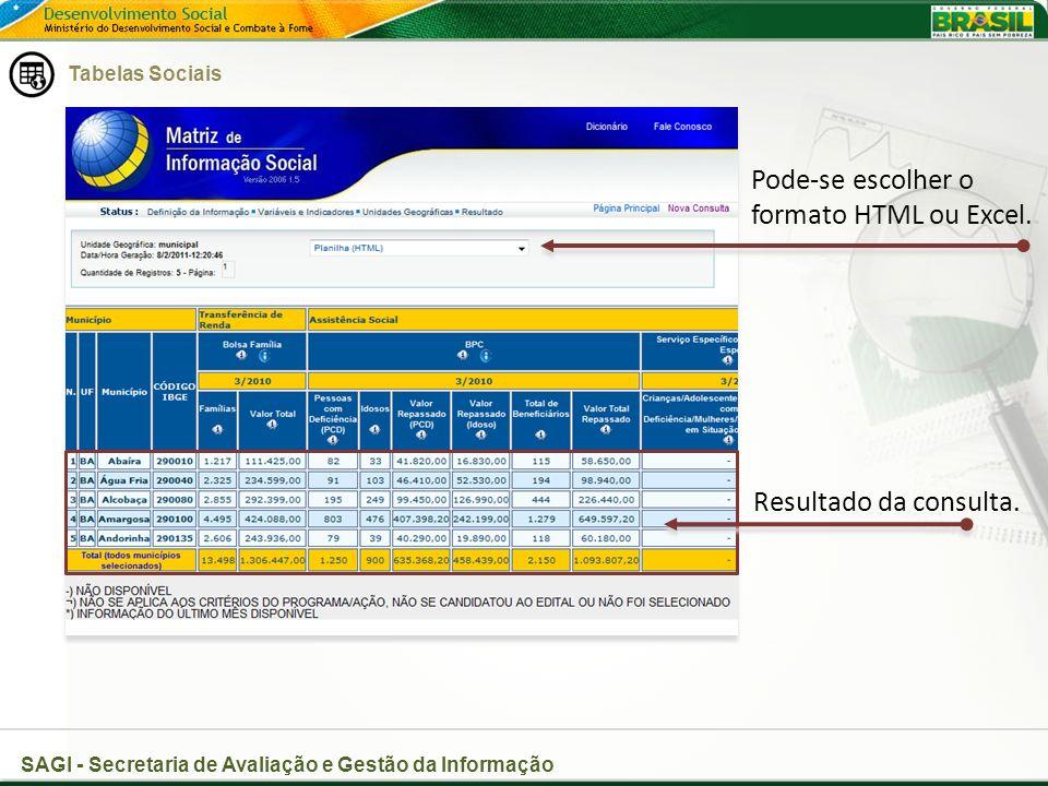 SAGI - Secretaria de Avaliação e Gestão da Informação Pode-se escolher o formato HTML ou Excel.