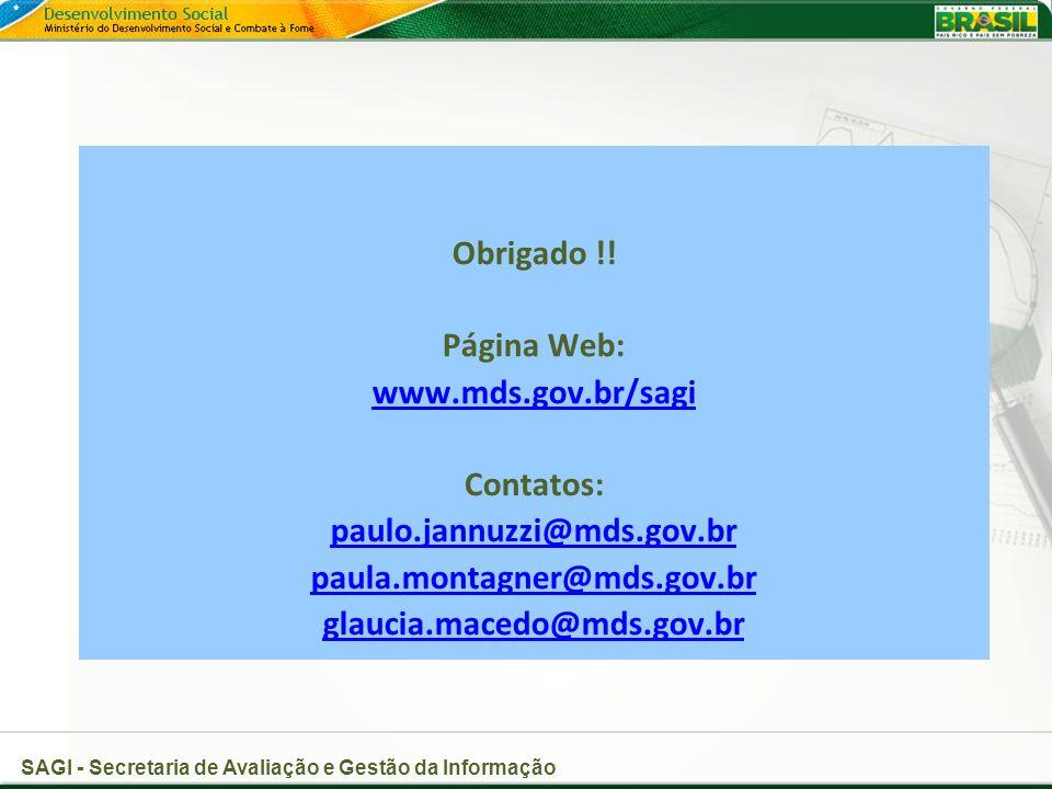 SAGI - Secretaria de Avaliação e Gestão da Informação Obrigado !.