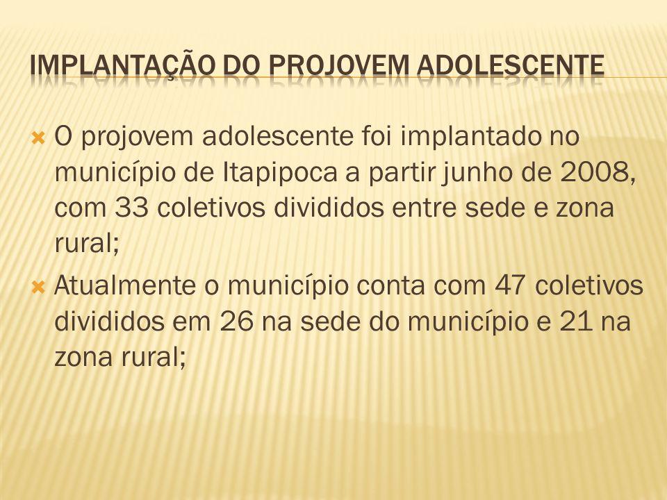 O projovem adolescente foi implantado no município de Itapipoca a partir junho de 2008, com 33 coletivos divididos entre sede e zona rural; Atualmente