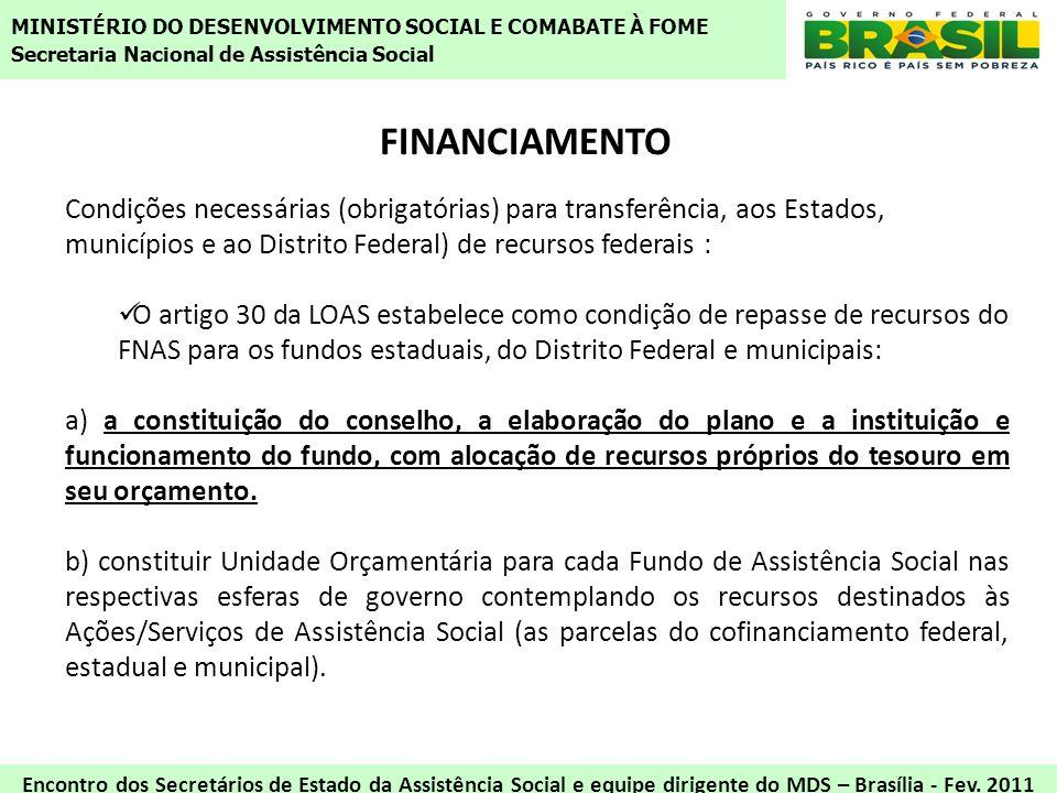 FINANCIAMENTO Condições necessárias (obrigatórias) para transferência, aos Estados, municípios e ao Distrito Federal) de recursos federais : O artigo