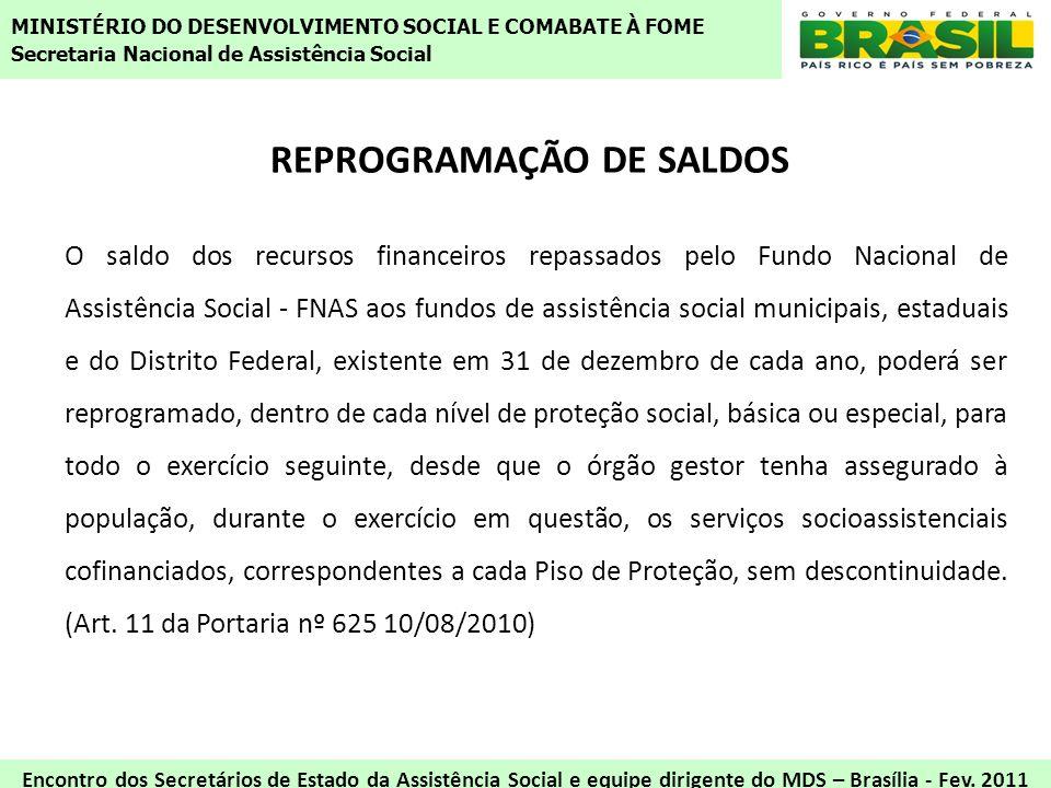 REPROGRAMAÇÃO DE SALDOS O saldo dos recursos financeiros repassados pelo Fundo Nacional de Assistência Social - FNAS aos fundos de assistência social