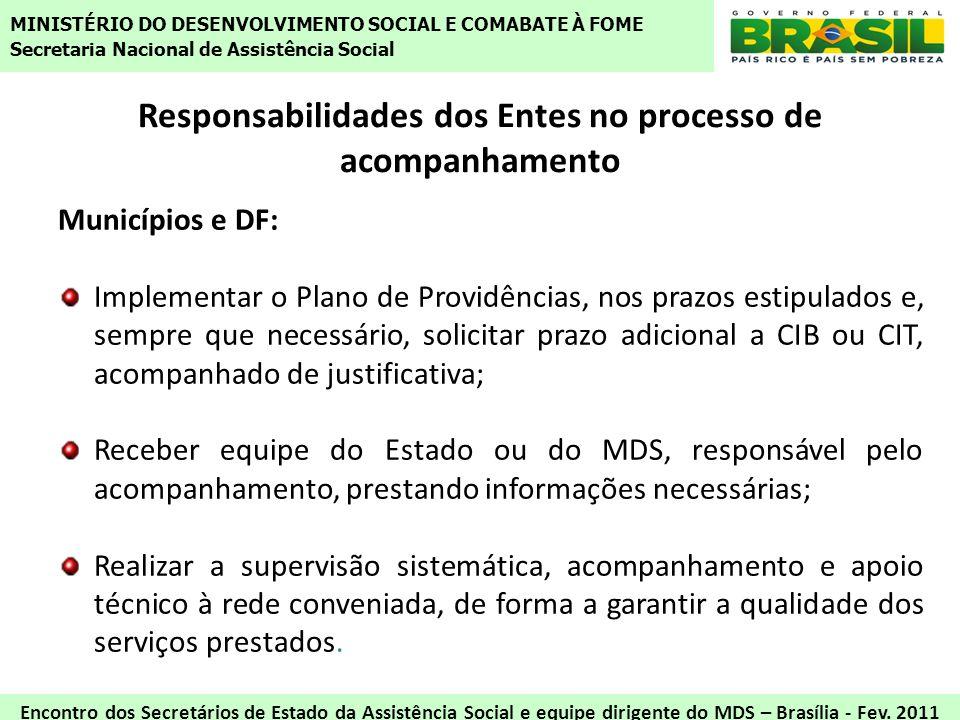 Responsabilidades dos Entes no processo de acompanhamento Municípios e DF: Implementar o Plano de Providências, nos prazos estipulados e, sempre que n