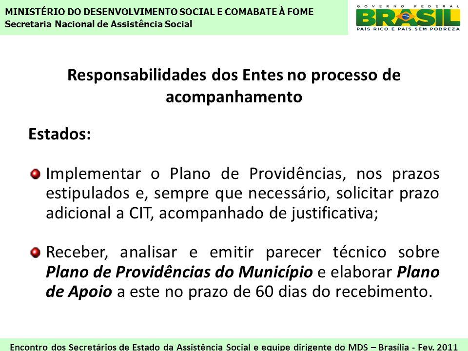 Responsabilidades dos Entes no processo de acompanhamento Estados: Implementar o Plano de Providências, nos prazos estipulados e, sempre que necessári