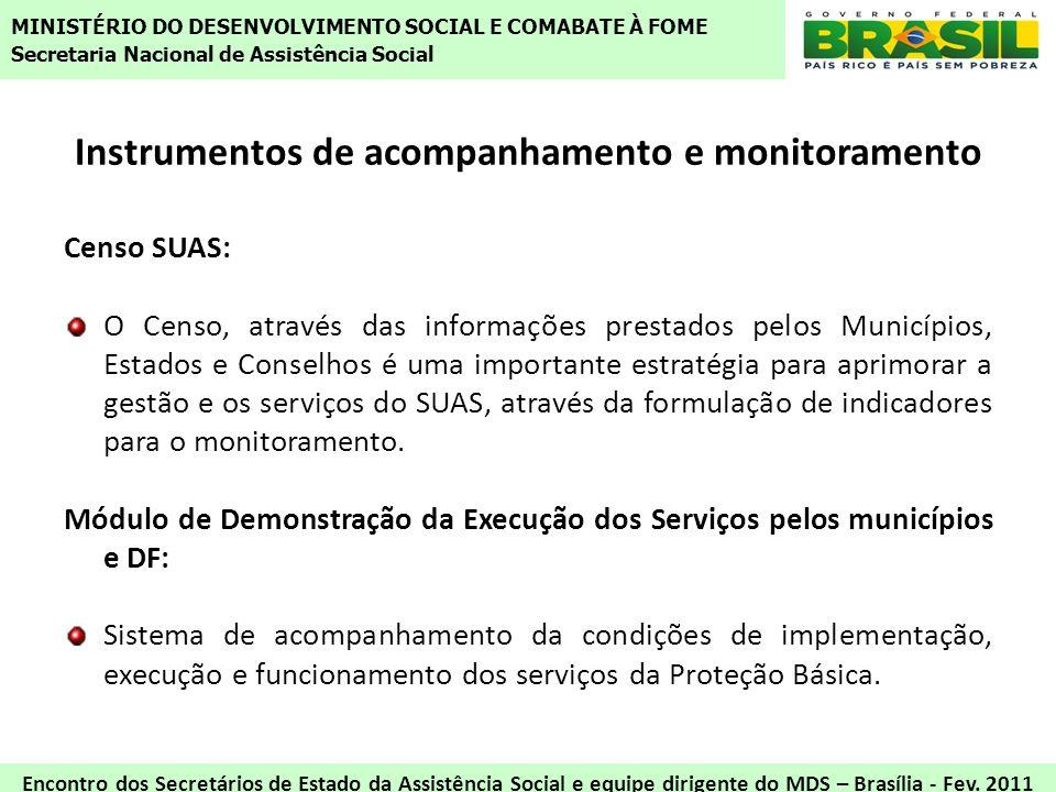 Instrumentos de acompanhamento e monitoramento Censo SUAS: O Censo, através das informações prestados pelos Municípios, Estados e Conselhos é uma impo