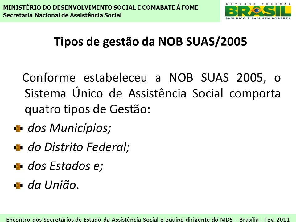 Tipos de gestão da NOB SUAS/2005 Conforme estabeleceu a NOB SUAS 2005, o Sistema Único de Assistência Social comporta quatro tipos de Gestão: dos Muni