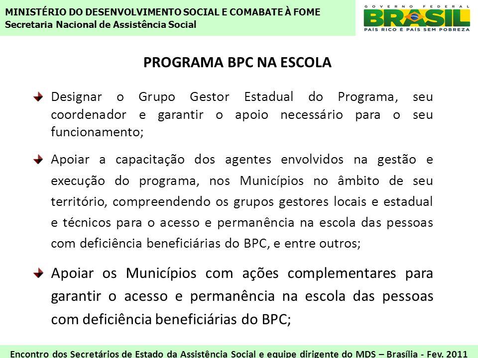 PROGRAMA BPC NA ESCOLA Designar o Grupo Gestor Estadual do Programa, seu coordenador e garantir o apoio necessário para o seu funcionamento; Apoiar a