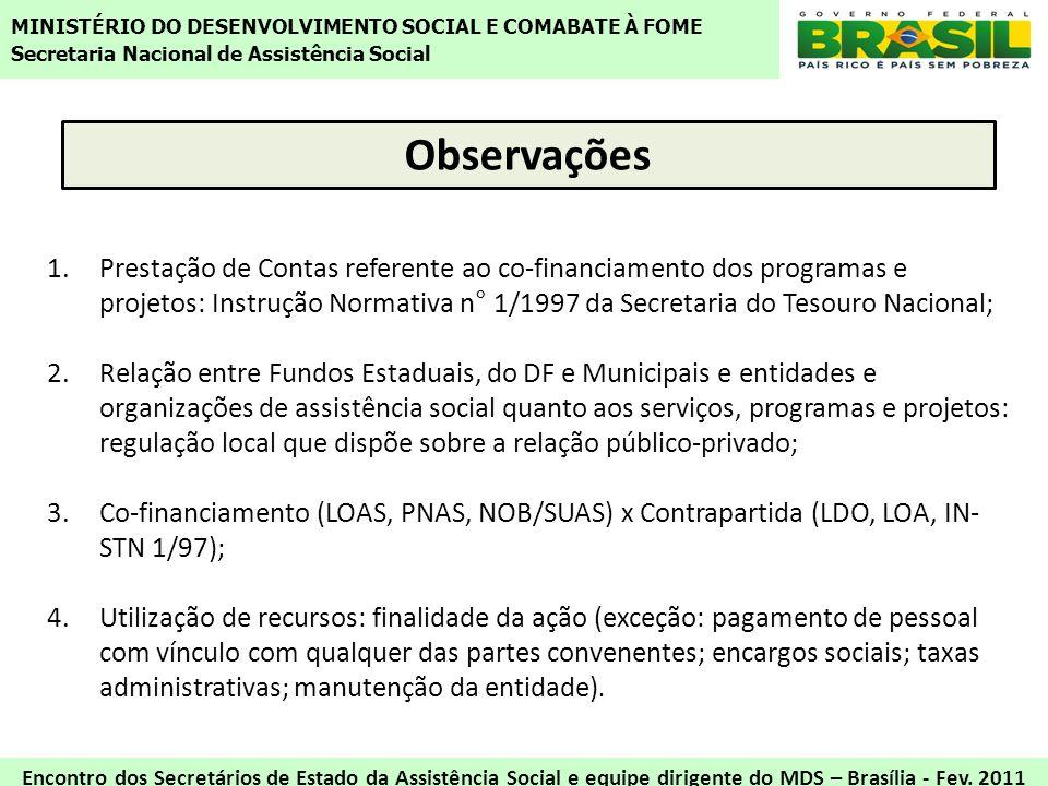 1.Prestação de Contas referente ao co-financiamento dos programas e projetos: Instrução Normativa n° 1/1997 da Secretaria do Tesouro Nacional; 2.Relaç