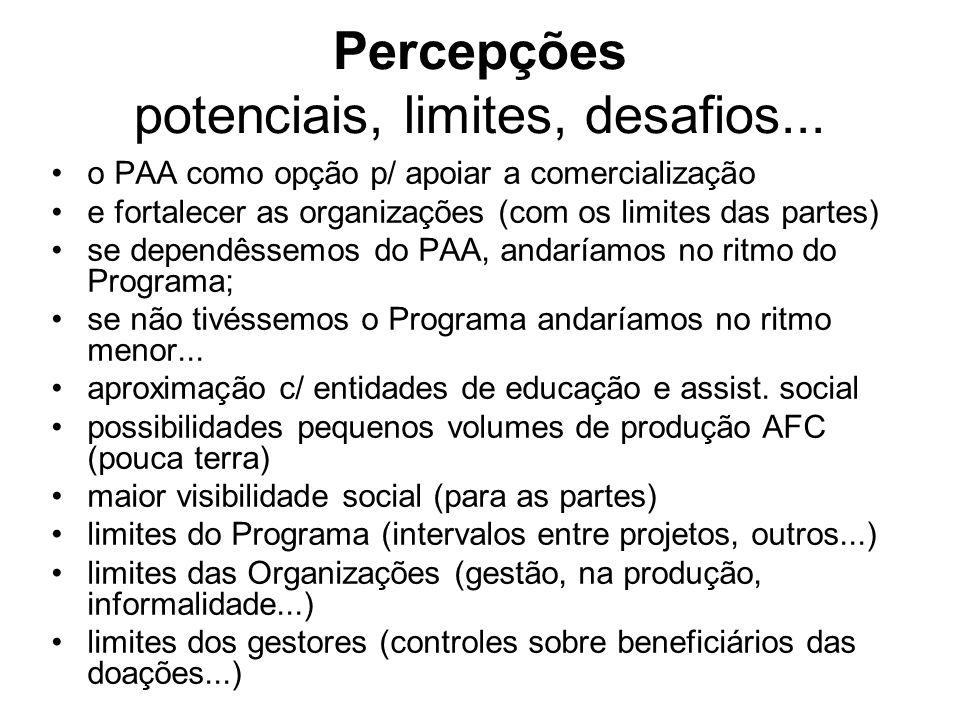 Percepções potenciais, limites, desafios... o PAA como opção p/ apoiar a comercialização e fortalecer as organizações (com os limites das partes) se d