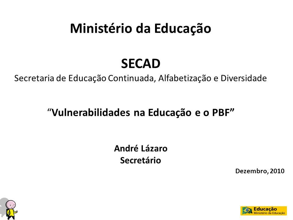 Ministério da Educação SECAD Secretaria de Educação Continuada, Alfabetização e Diversidade Vulnerabilidades na Educação e o PBF André Lázaro Secretár