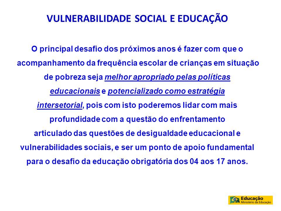 VULNERABILIDADE SOCIAL E EDUCAÇÃO O principal desafio dos próximos anos é fazer com que o acompanhamento da frequência escolar de crianças em situação