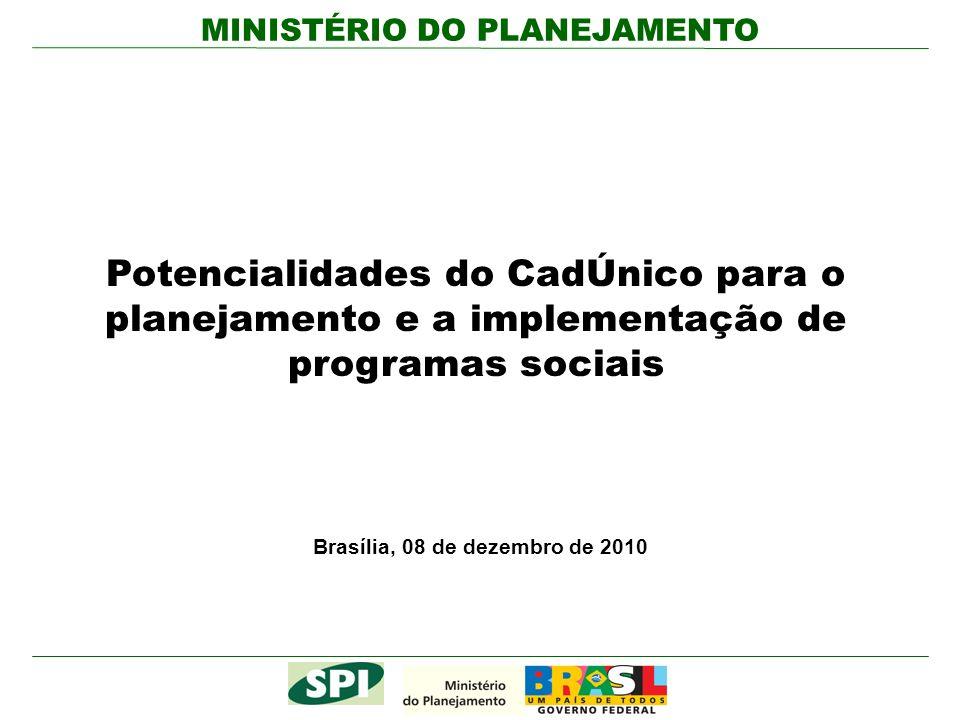 MINISTÉRIO DO PLANEJAMENTO Potencialidades do CadÚnico para o planejamento e a implementação de programas sociais Brasília, 08 de dezembro de 2010