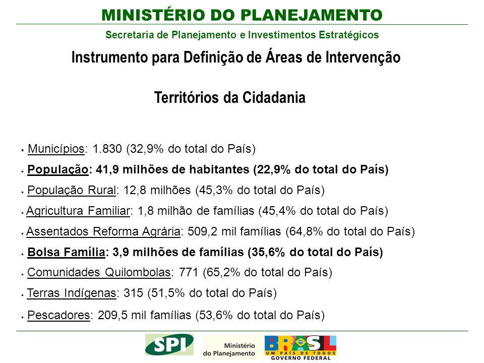 MINISTÉRIO DO PLANEJAMENTO Secretaria de Planejamento e Investimentos Estratégicos Instrumento para Definição de Áreas de Intervenção Territórios da C