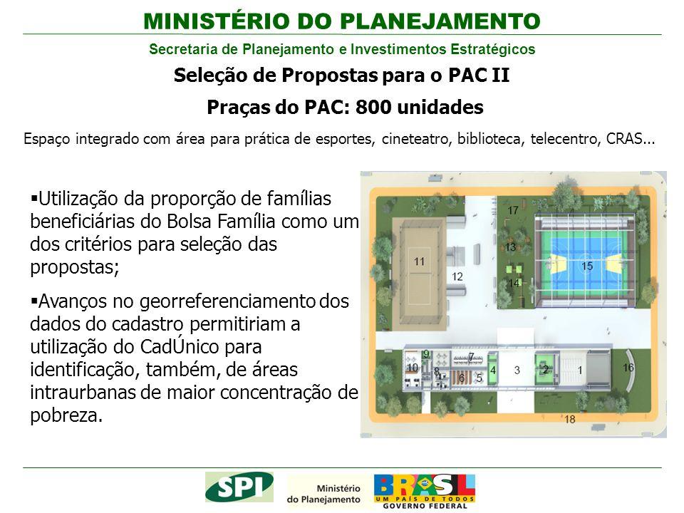 MINISTÉRIO DO PLANEJAMENTO Secretaria de Planejamento e Investimentos Estratégicos Seleção de Propostas para o PAC II Praças do PAC: 800 unidades Espa