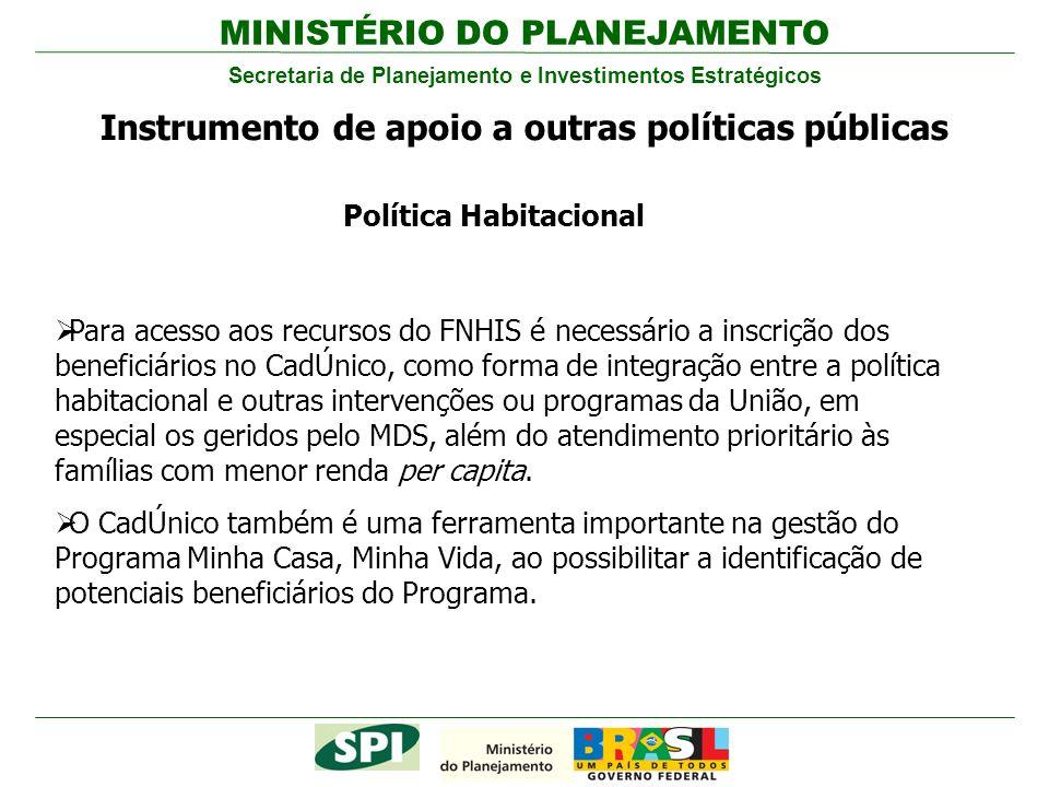 MINISTÉRIO DO PLANEJAMENTO Secretaria de Planejamento e Investimentos Estratégicos Instrumento de apoio a outras políticas públicas Para acesso aos re
