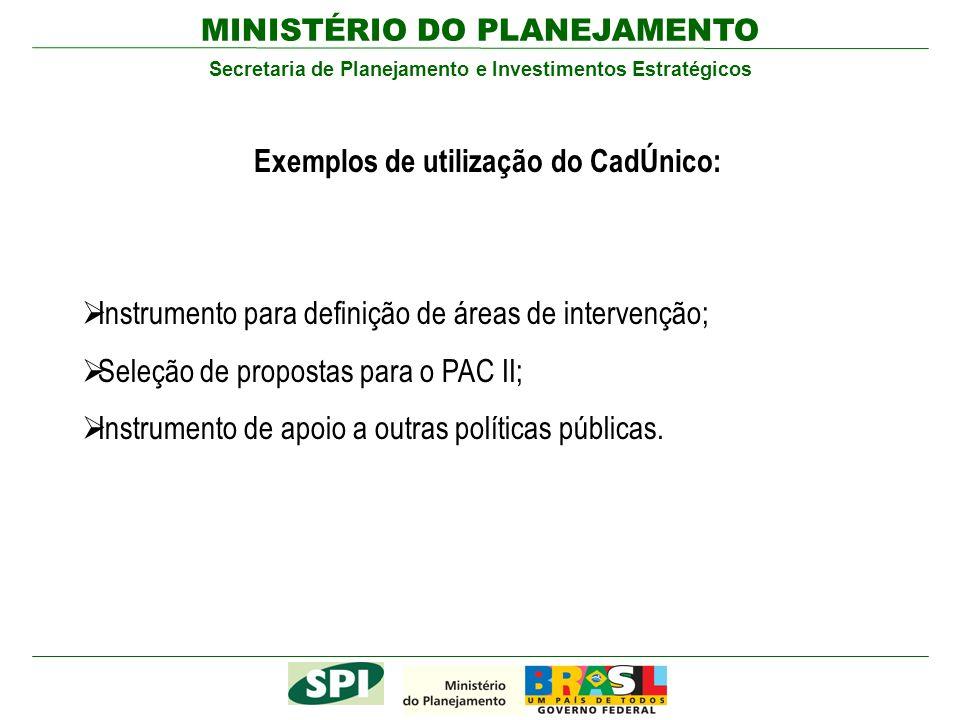 MINISTÉRIO DO PLANEJAMENTO Secretaria de Planejamento e Investimentos Estratégicos Instrumento para definição de áreas de intervenção; Seleção de prop