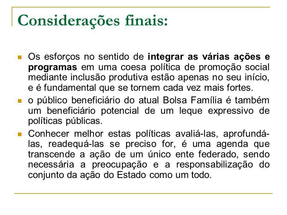 Considerações finais: Os esforços no sentido de integrar as várias ações e programas em uma coesa política de promoção social mediante inclusão produt