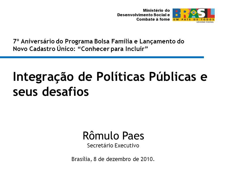 Ministério do Desenvolvimento Social e Combate à fome Integração de Políticas Públicas e seus desafios Rômulo Paes Secretário Executivo Brasília, 8 de