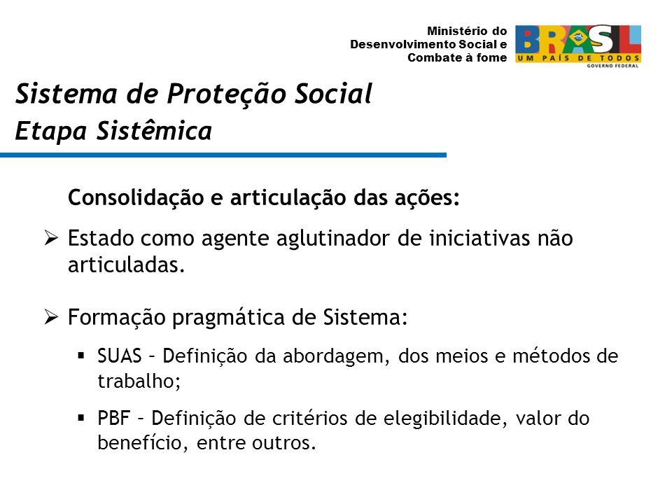Ministério do Desenvolvimento Social e Combate à fome Consolidação e articulação das ações: Estado como agente aglutinador de iniciativas não articula