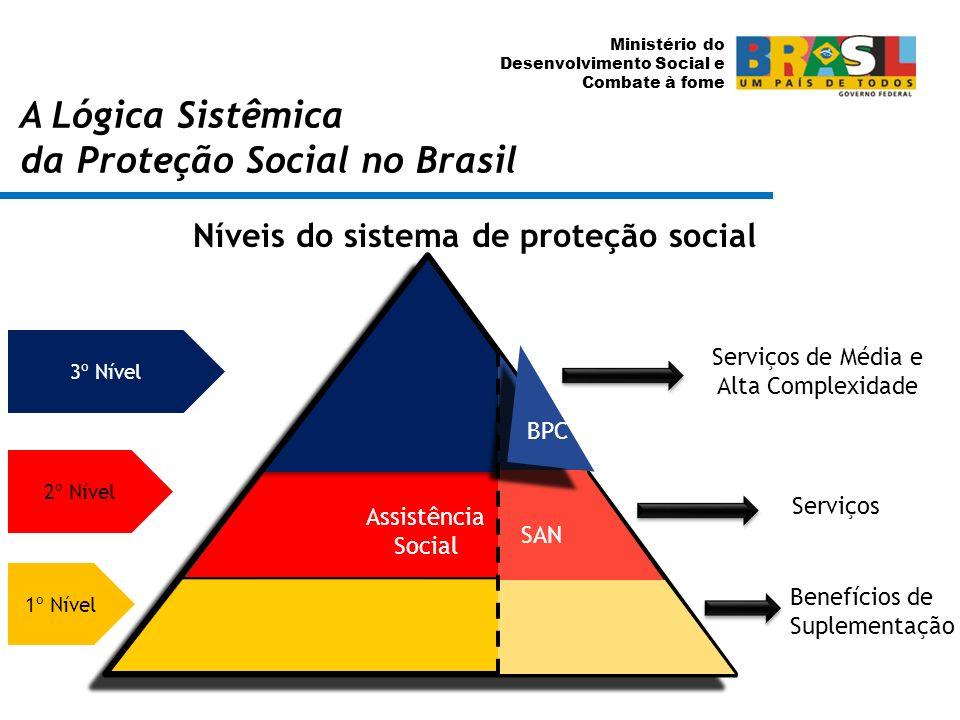 Ministério do Desenvolvimento Social e Combate à fome A Lógica Sistêmica da Proteção Social no Brasil Níveis do sistema de proteção social 1º Nível 2º