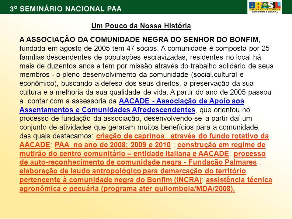 Um Pouco da Nossa História A ASSOCIAÇÃO DA COMUNIDADE NEGRA DO SENHOR DO BONFIM, fundada em agosto de 2005 tem 47 sócios.