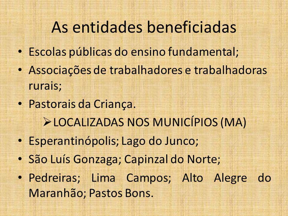 As entidades beneficiadas Escolas públicas do ensino fundamental; Associações de trabalhadores e trabalhadoras rurais; Pastorais da Criança. LOCALIZAD
