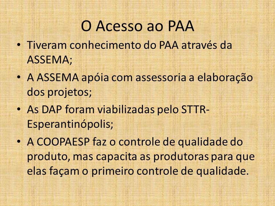 O Acesso ao PAA Tiveram conhecimento do PAA através da ASSEMA; A ASSEMA apóia com assessoria a elaboração dos projetos; As DAP foram viabilizadas pelo
