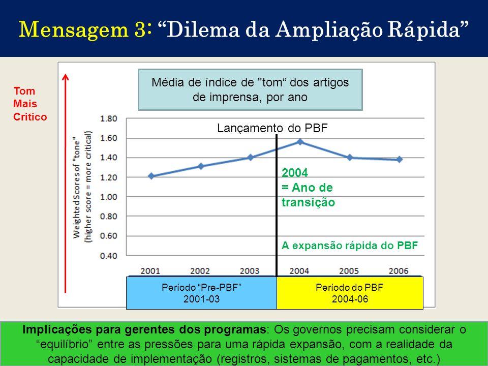 12 Mensagem 3: Dilema da Ampliação Rápida Implicações para gerentes dos programas: Os governos precisam considerar o equilíbrio entre as pressões para