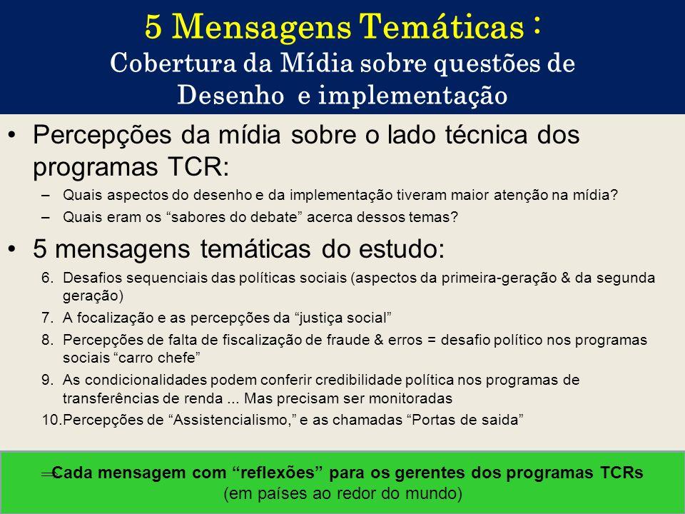 5 Mensagens Temáticas : Cobertura da Mídia sobre questões de Desenho e implementação Percepções da mídia sobre o lado técnica dos programas TCR: –Quai