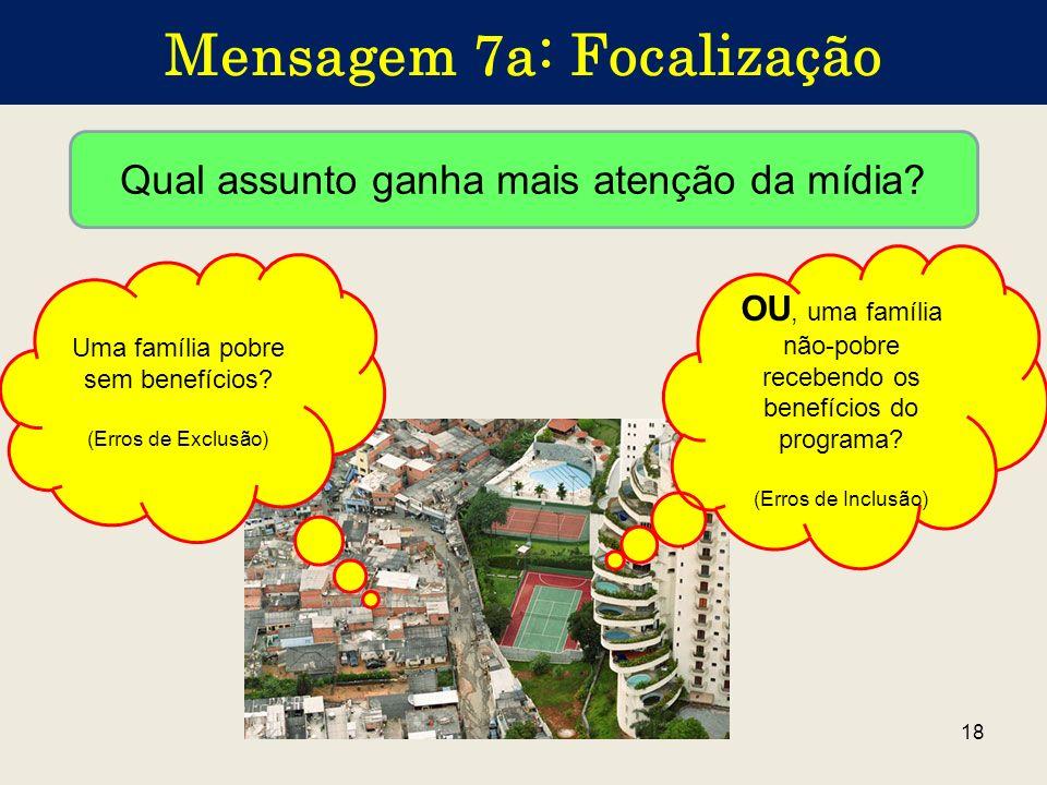 18 Mensagem 7a: Focalização Uma família pobre sem benefícios? (Erros de Exclusão) Qual assunto ganha mais atenção da mídia? OU, uma família não-pobre