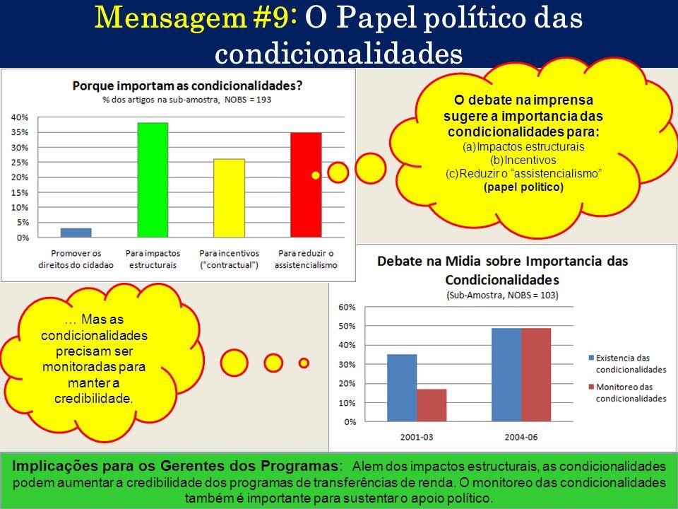 21 Mensagem #9: O Papel político das condicionalidades … Mas as condicionalidades precisam ser monitoradas para manter a credibilidade. Implicações pa