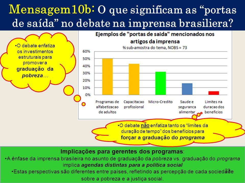 Implicações para gerentes dos programas: A ênfase da imprensa brasileira no asunto de graduação da pobreza vs. graduação do programa implica agendas d