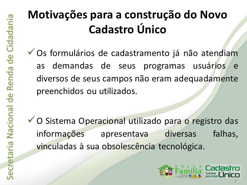 Motivações para a construção do Novo Cadastro Único Os formulários de cadastramento já não atendiam as demandas de seus programas usuários e diversos