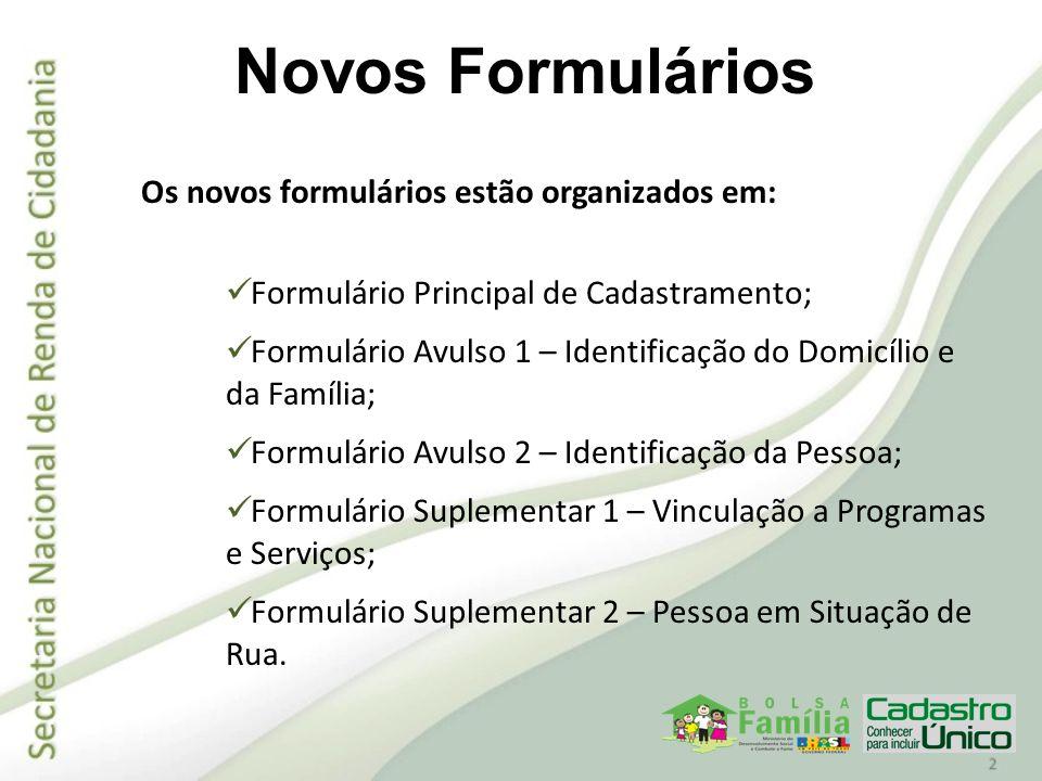 Os novos formulários estão organizados em: Formulário Principal de Cadastramento; Formulário Avulso 1 – Identificação do Domicílio e da Família; Formu