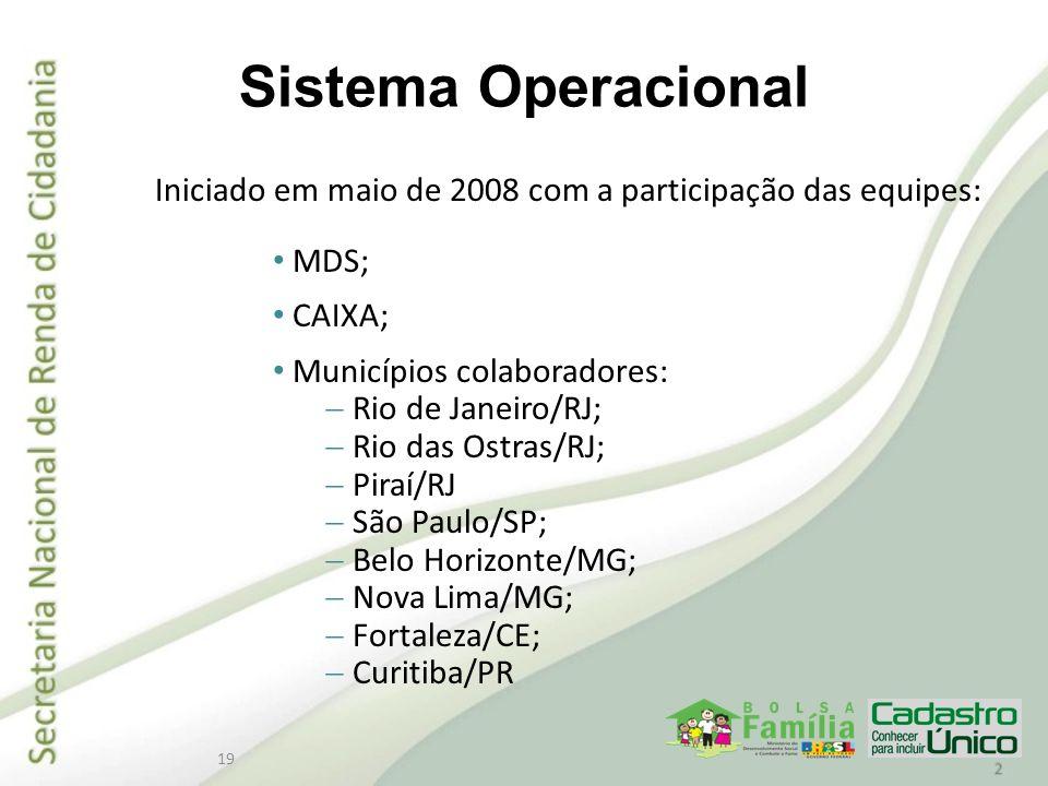 19 Sistema Operacional Iniciado em maio de 2008 com a participação das equipes: MDS; CAIXA; Municípios colaboradores: Rio de Janeiro/RJ; Rio das Ostra