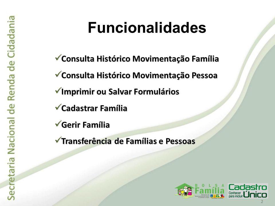 Funcionalidades Consulta Histórico Movimentação Família Consulta Histórico Movimentação Família Consulta Histórico Movimentação Pessoa Consulta Histór