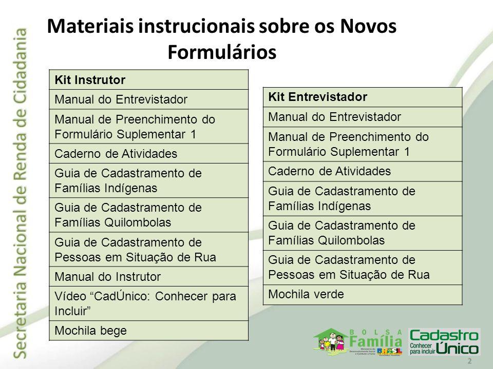 Materiais instrucionais sobre os Novos Formulários Kit Instrutor Manual do Entrevistador Manual de Preenchimento do Formulário Suplementar 1 Caderno d