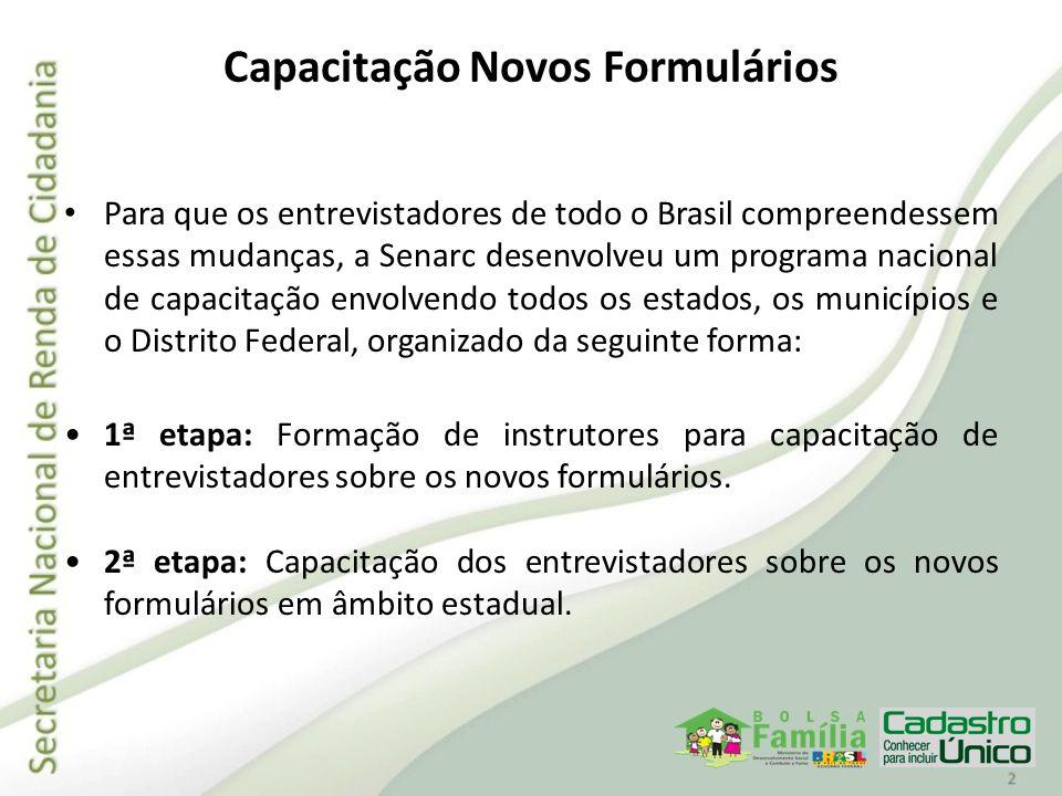 Capacitação Novos Formulários Para que os entrevistadores de todo o Brasil compreendessem essas mudanças, a Senarc desenvolveu um programa nacional de