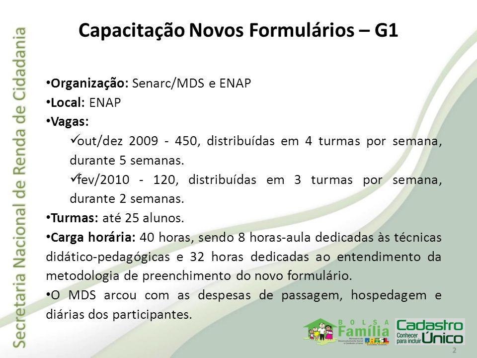 Organização: Senarc/MDS e ENAP Local: ENAP Vagas: out/dez 2009 - 450, distribuídas em 4 turmas por semana, durante 5 semanas. fev/2010 - 120, distribu