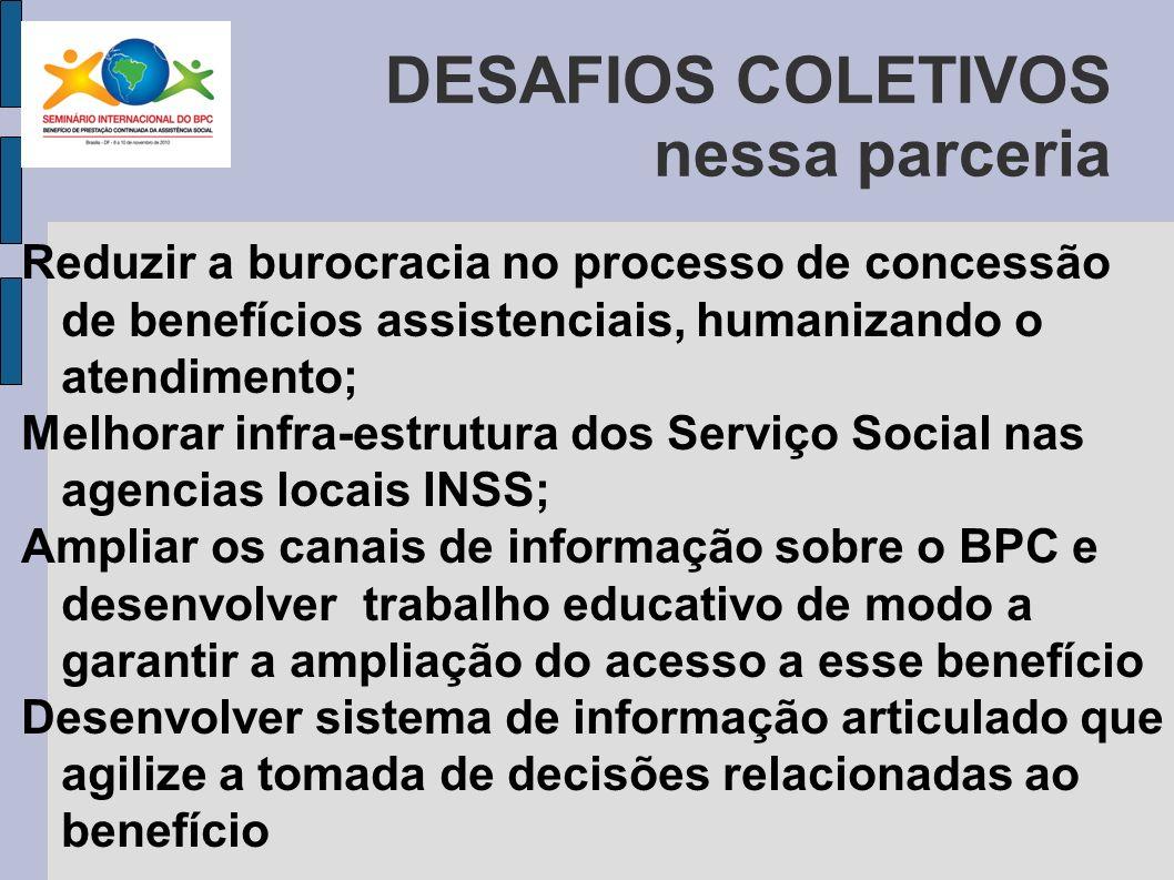 … são muitos os desafios Ampliar a discussão sobre BPC nos Conselhos Municipais e Estaduais Aperfeiçoar o sistema de informações, monitoramento e avaliação sobre o acompanhamento dos beneficiários.